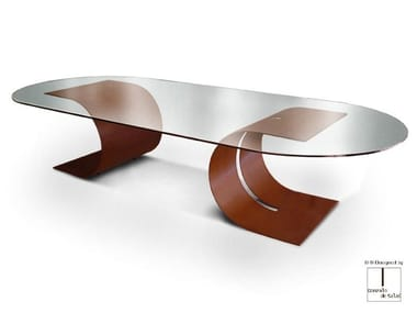 Oval glass and steel table CARLOVI | Oval table