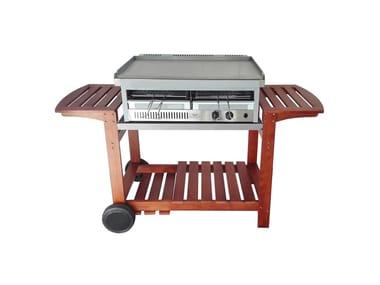 Barbecue a gas da incasso o appoggio CARRELLO CHEF IN LEGNO PER BBQ CITY E SHARK 50-80