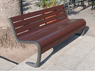 Wooden Bench with back CARYA | Bench
