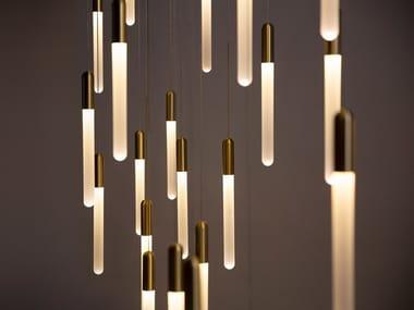 Lampada a sospensione a LED in vetro opale CASCADIA