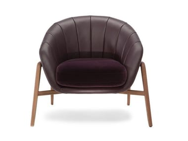 Leather armchair with armrests CASSIA