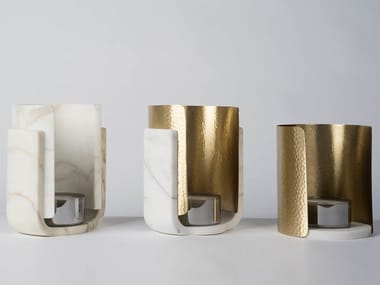 Marble and brass candle holder CASSIOPÉE