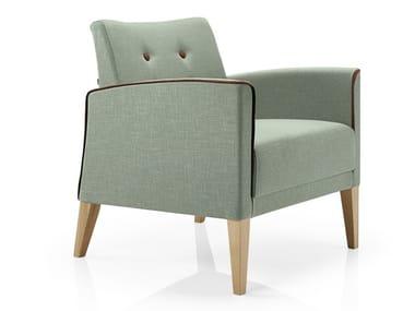 Cadeira lounge capitonê de tecido com braços CASSIS   Cadeira lounge capitonê