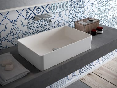 Countertop rectangular HI-MACS® washbasin CB540R