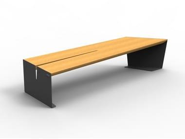 Modular backless steel and wood Bench CEKTA | Wooden Bench
