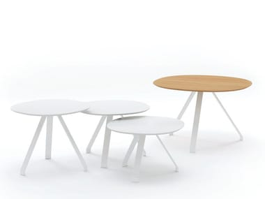 Round plywood side table with HPL edging CELES