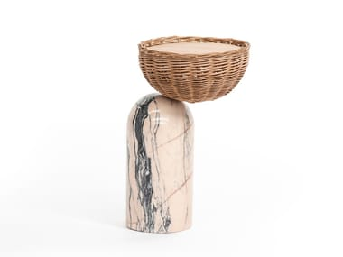 Estremoz marble side table with wicker basket CELESTE