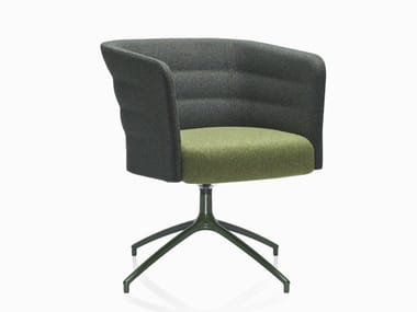Upholstered guest chair with armrests CELL 75 | Trestle-based easy chair