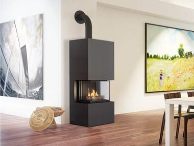 Wood-burning 3-sided steel fireplace CELTIS