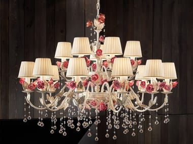 Metal chandelier with crystals CERAMIC GARDEN 10+5