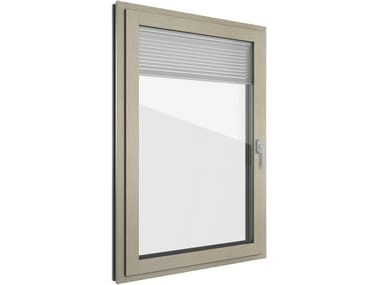 Aluminium and wood window with built-in blinds FIN-PROJECT CLASSIC-LINE TWIN | Aluminium and wood window