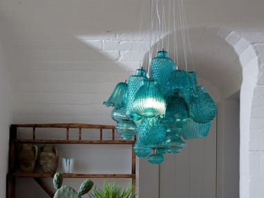 Direct light glass pendant lamp CERAUNAVOLTA