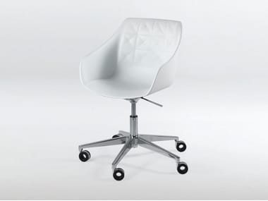 Swivel height-adjustable polyurethane chair with casters CESTER + DESK