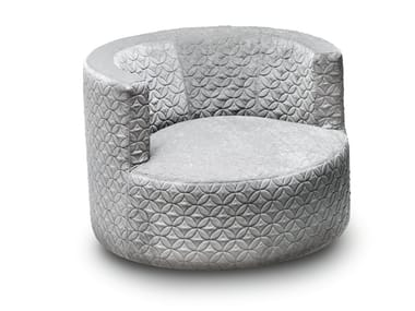 Swivel fabric armchair with armrests CHANCE