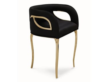 Upholstered velvet chair with armrests CHANDRA | Chair