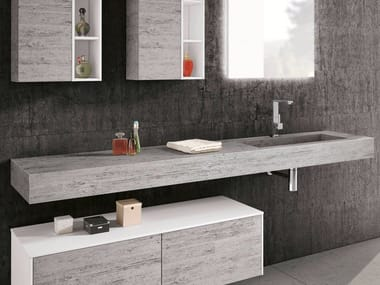 Piano lavabo in HPL con lavabo integrato CHANGE HPL