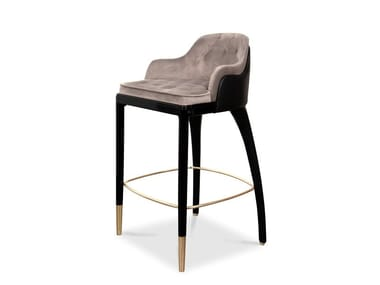 High leather barstool with footrest CHARLA | Barstool