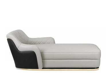 Tufted leather Chaise longue CHARLA | Chaise longue