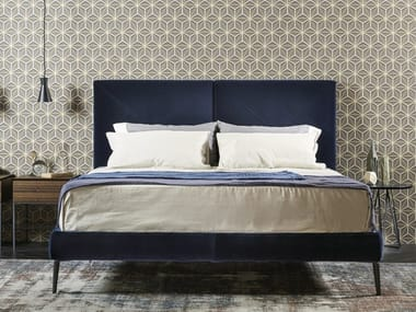 Velvet double bed with upholstered headboard CHARLOTTE