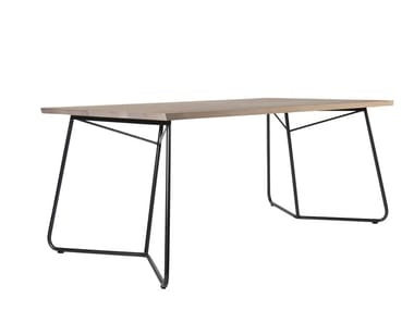 Rectangular solid wood dining table CHARLOTTE