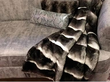 Natural fur throw and cushions CHELSEA