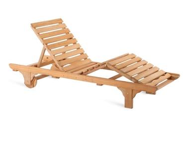 Tumbona de jardín reclinable de teca con ruedas CHELSEA | Tumbona de jardín