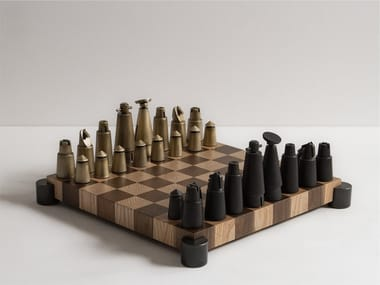 Wooden and metal chess set CHESS SET