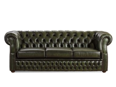 Tufted 3 seater leather sofa CHESTERFIELD | 3 seater sofa