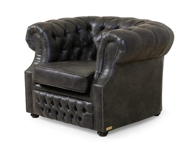 Tufted leather armchair with armrests CHESTERFIELD | Tufted armchair