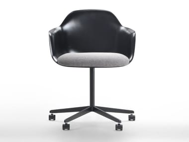 Chair with 4-spoke base with armrests with castors CHIA | Chair with castors