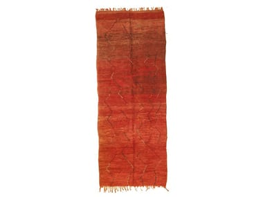 Contemporary style long pile solid-color wool rug with geometric shapes CHICHAOUA TAA1237BE