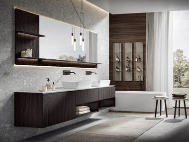 Wall-mounted wooden vanity unit CHR 004