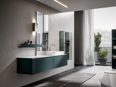 Lacquered wall-mounted vanity unit CHR 005