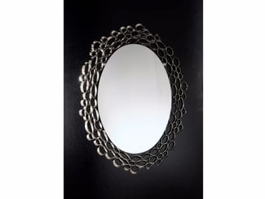 Oval wall-mounted framed mirror CHRYSALIS | Mirror