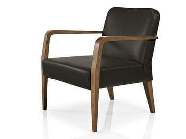 Cadeira lounge de pele com braços CIBELLE | Cadeira lounge