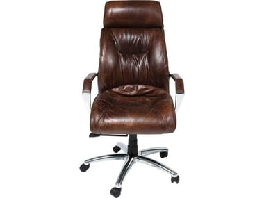 Cowhide executive chair with castors CIGAR LOUNGE | Executive chair