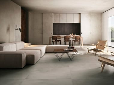 Porcelain stoneware wall/floor tiles with concrete effect with resin effect CINDER RESIN