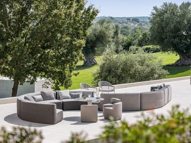 Curved modular fabric garden sofa CIRCLE BELT | Garden sofa