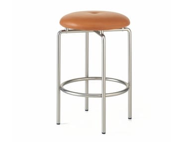 Upholstered counter stool with steel base CIRCULAR | Counter stool