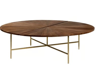 Round stainless steel and wood table CIRCULAR   Table