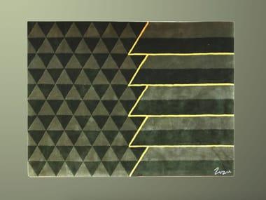 Handmade rectangular fleece rug CITY HALL