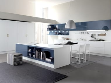 Lacquered fitted kitchen with island CITY | Lacquered kitchen