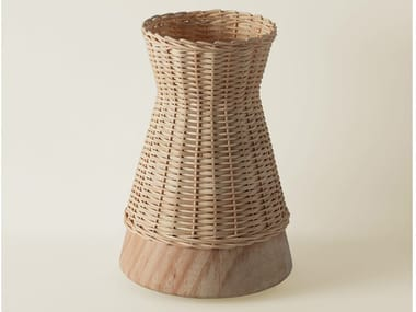 Indirect light woven wicker table lamp CLÈ 10