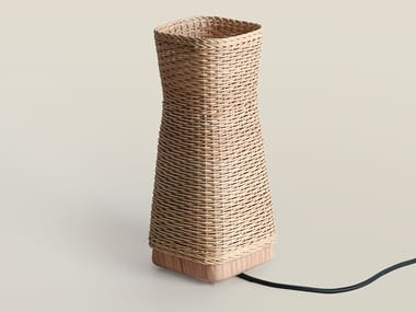 LED indirect light woven wicker table lamp CLÈ 17