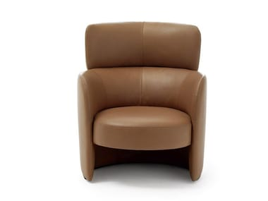 Upholstered leather armchair with armrests CLAIRE | Armchair