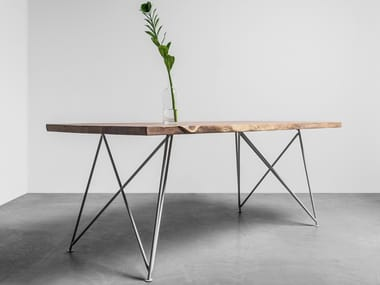 Natural edge table made of solid oak and steel CLAIRE