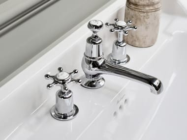 3 hole countertop washbasin tap with pop up waste CLAREMONT | 3 hole washbasin tap