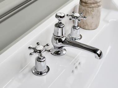 Robinet pour lavabo 3 trous à poser avec garniture d'écoulement CLAREMONT | Robinet pour lavabo 3 trous