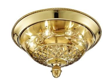 Plafoniera oro zecchino sfumato con cristallo ambra CLARISSA 4500/PLG