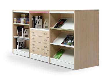 Modular aluminium and wood office shelving CLASS